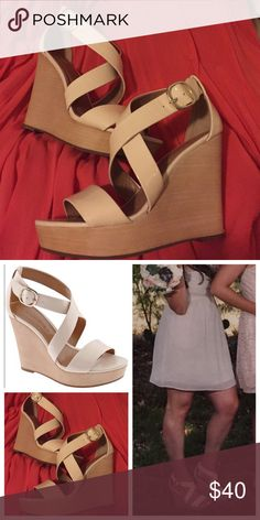 Banana Republic Isabel Wedges Cute and comfortable wedges with wooden platforms and sheer pink patent leather straps. Gold buckle hardware and adjustable holes to make tighter/looser on ankle. Worn once as a bridesmaid and kept in great condition in the original box. Minor scuffing that is barely noticeable while wearing Banana Republic Shoes Wedges