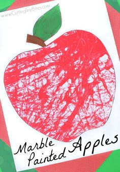 Marble Painted Apples- fun fall process art activity for preschoolers…