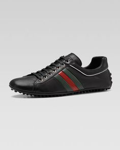 Lace-up Sneaker by Gucci at Bergdorf Goodman. Leather And Lace, Black Leather, Luxury Fashion, Men's Fashion, Sneaker Games, Gucci Sneakers, Classic Man, Bergdorf Goodman, Shoe Boots