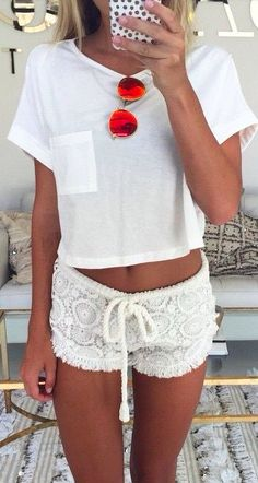 shop her look » rag & bone pocket crop tee | letarte crochet shorts | ray ban red aviators