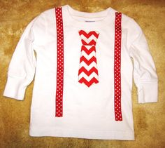 Long sleeve white t-shirt with red chevron tie by WinklesWhimsies