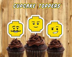 Printable Lego Inspired Cupcake Toppers - Download Print Lego cupcake toppers lego birthday decoration lego cake decoration lego birthday