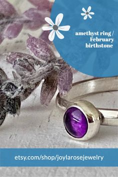 Sterling Silver Amethyst ring for February birthstones....check out Joylarosejewelry.com for more designs. Silver Stacking Rings, Silver Rings Handmade, Handcrafted Jewelry, Amethyst Jewelry, Amethyst Stone, Gemstone Jewelry, Beautiful Promise Rings, Unique Rings, Birthstones