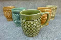 Coffee Mugs Mid Century Modern 1970s