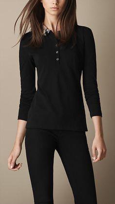 Burberry Brit Long Sleeve Check Collar Polo Shirt