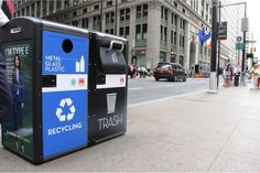 In New York City, solar-powered garbage bins are doubly functioning as WiFi hot spots. This initiative is a small way to make streets more livable! #LQC #StreetsAsPlaces #LQC