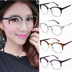 Semi-rim half frame Women vintage Eyeglasses Frame adjustable nose pad retro oval frames clear lens oculos cat eye