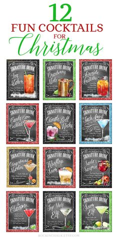 Rockin' Chalk Festive Drink Signs on Etsy - Deck the Bar! Or create a personalized gift for family, friends and co-workers with some holiday cheer and a special custom created cocktail sign!