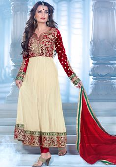 Beautiful !Cream #Net - #Velvet  kameez designed with Front Zari Embroidery Hand Work and lace patta Work. Available with Maroon Santoon Bottom with matching Pure #Chiffon Dupatta.   With exciting Flat 30% discount! INR :-4893