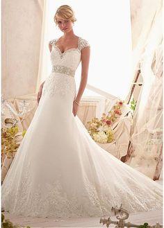 wedding dresses/Spitze Herz-Ausschnitt gekappte Ärmel Satin Etui aufgeblähtes bodenlanges Brautkleide