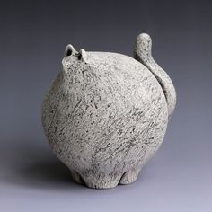 Fat Cat. Ceramic, underglaze. Fred Yokel
