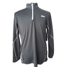 ASICS men's size M runner fleece 1/2 zip neck black color with light reflectors visit our ebay store at  http://stores.ebay.com/esquirestore