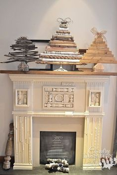 fire and ice in faux fireplace, christmas decorations, fireplaces mantels, seasonal holiday decor
