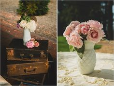 vintage suitcases used as side tables