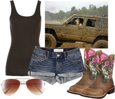 Mud Ride, created by qtpiekelso on Polyvore. Just started getting into this and i'm hooked. this is a good outfit and the boots are really needed.