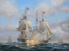 """PATRICK O'BRIEN (American, Contemporary) """"USS Wasp in action with HMS Frolic, 18th October 1812"""" Framed Oil Painting on Canvas"""
