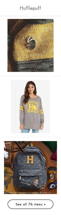 """Hufflepuff"" by chrispycream on Polyvore featuring hufflepuff, tops, hoodies, sweatshirts, white sweatshirt, crew neck tops, white crew neck sweatshirt, white crew sweatshirt, warner bros. and bags"
