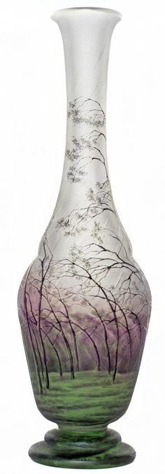 Daum, Acid-Etched and Enameled Rainy Landscape Vase, France, ca. 1910.