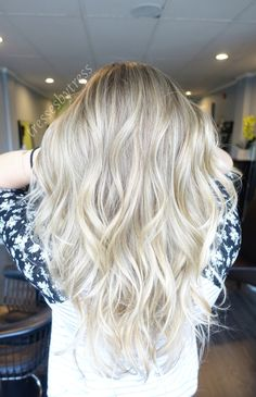 Long blonde balayage highlights