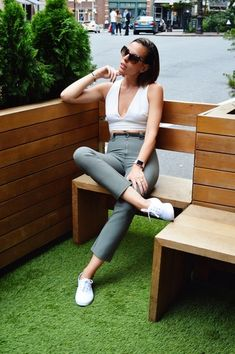 ShopStyle Look by acutestyleaddict featuring Prada Women's Angular Pentagonal Sunglasses and David Lerner Abbie Bralette Crop Top Keds Shoes Outfit, White Converse Outfits, Keds Sneakers, Sneaker Outfits, Boyfriend Jeans, Mom Jeans, Jeans Pants, Shorts, Keds Champion
