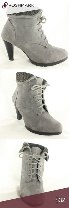 NEW WHITE MOUNTAIN Gray Suede Wool Lined Bootie New, never worn, cute gray suede leather bootie with folding collar and lined in wool.  Heel Height - 3 inches Size 8 White Mountain Shoes Heeled Boots