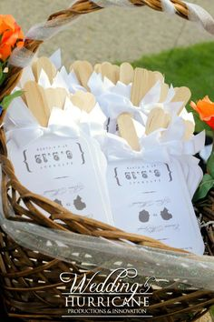 Wedding ceremony programs that double as a fan for summer weddings