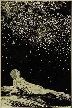 Dorothy Lathrop  1891 - 1980  Stars, 1930, ink on illustration board. Illustration for Sarah Teasdale, Stars Tonight, New York: Macmillan Company, 1930.