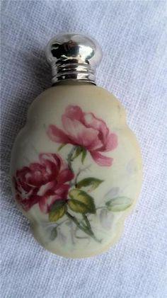 Antique Porcelain Scent Perfume Bottle Silver Lid Birmingham 1905   eBay