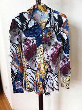 Womens Alberto Makali Abstract Print Stretch Ruffled Button Down Blouse Shirt L
