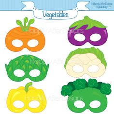 Vegetable Printable Masks carrot mask por HappilyAfterDesigns