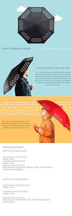 Color Changing Umbrella (Black) Changes To Bright Colors When Wet!