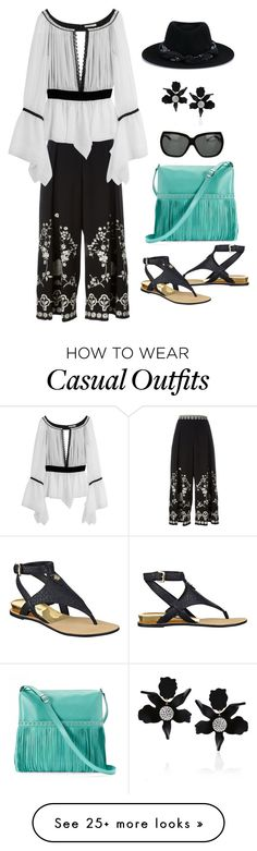 """""""Casual Day"""" by defineyourstyle on Polyvore featuring Temperley London, Emilio Pucci, GUESS, ILI, Burberry, Lele Sadoughi, Maison Michel and croppedpants"""