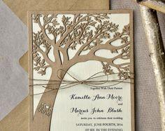 Custom listato (20) rustico nozze invito, invito albero tagliato Laser, Eco Chic inviti di nozze, 4lovepolkadots