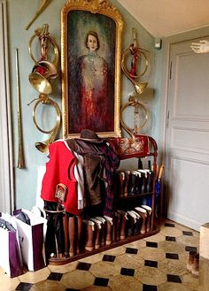 mud room at Jacques Garcia's Champ de Bataille