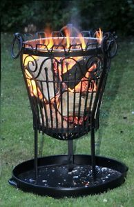 Garden / Outdoor Wrought Iron Lincoln Log Burner / Brazier / Fire Pit