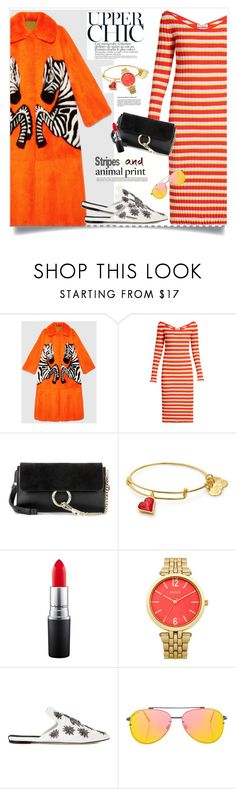 """""""Stripes and animalprint"""" by anne-irene ❤ liked on Polyvore featuring Gucci, Altuzarra, Chloé, Sanayi 313 and Topshop"""