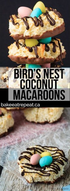 Quick and easy coconut macaroons that can be shaped into cute little bird's nests cookies for a fun Easter treat that the kids will love!