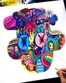 Doodle Art Drawing, Doodle Sketch, Cartoon Drawings, Art Drawings, Vexx Art, Doddle Art, Doodle Characters, Cool Doodles, Doodle Inspiration