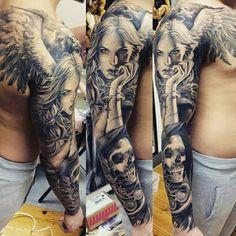 Engel Tattoos Full sleeve tattoo idea for men, skull women angel wings