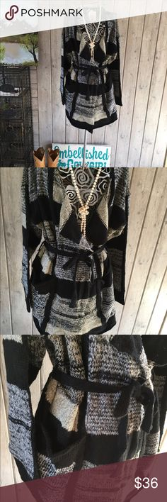 Print Wrap belted cardigan Super cute pocket front cardigan sweater that is belted and overlap wrap style soft med weight Sweaters Cardigans