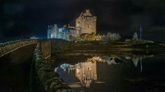 Eilean Donan Castle, Kyle of Lochalsh, Ross and Cromarty, Scotland at night. Kyle Of Lochalsh, Cromarty, Eilean Donan, Scottish Castles, British Isles, Scotland, Maine, Ireland, To Go