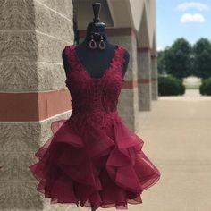 Short Prom Dress,Ruffles Dress,Semi Formal Dress,Burgundy Homecoming Dresses,Elegant Dresses