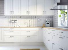 FAKTUM kitchen with SOFIELUND light grey walnut effect doors ...