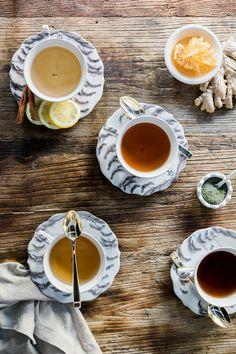 Renew: 4 DIY Detox Tea Recipes to Try Today (Waiting on Martha) Detox Tea Diet, Detox Drinks, Body Detox, Detox Recipes, Tea Recipes, Snacks Recipes, Detox Organics, Vegetarian Curry, Flu