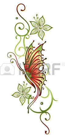 Green and orange, flowers with butterfly Butterfly Drawing, Butterfly Tattoo Designs, Butterfly Photos, Butterfly Wallpaper, Baby Tattoos, Flower Tattoos, Body Art Tattoos, Colorful Drawings, Art Drawings