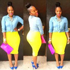 yellow skirt with chambray shirt
