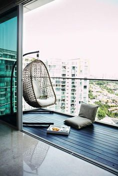 13 balcony designs that'll put you at ease instantly Conception de balcon 9 Balcony Swing, Narrow Balcony, Condo Balcony, Modern Balcony, Balcony Chairs, Apartment Balcony Decorating, Balcony Furniture, Apartment Balconies, Cool Apartments