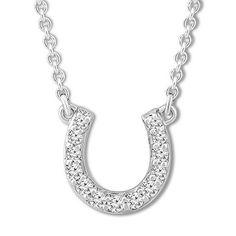 Diamond Horseshoe Necklace 1/10 carat tw 10K White Gold