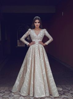 2019 Said Mhamad Light Champagne Sparkly Wedding Dresses V Neck - Wedding Outfit Wedding Gown A Line, Best Wedding Dresses, Bridal Dresses, Wedding Gowns, Bridesmaid Dresses, Fall Wedding, Hijab Dress Party, Prom Party Dresses, Evening Dresses