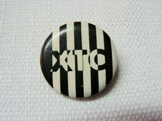 Vintage Early 1980s XTC Band Black and White Stripe Logo Pin / Button / Badge by beatbopboom on Etsy